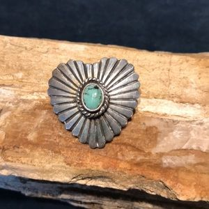 Native American Sterling & Turquoise Heart Pendant